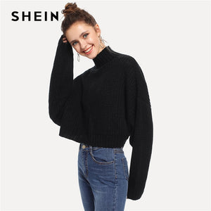 SHEIN Black Solid High Neck Crop Boxy Autumn Sweater Women Tops 2019 Winter Streetwear Long Sleeve Casual Ladies Sweaters