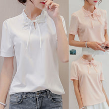 Load image into Gallery viewer, Short Sleeve Bow Tie Chiffon Blouse