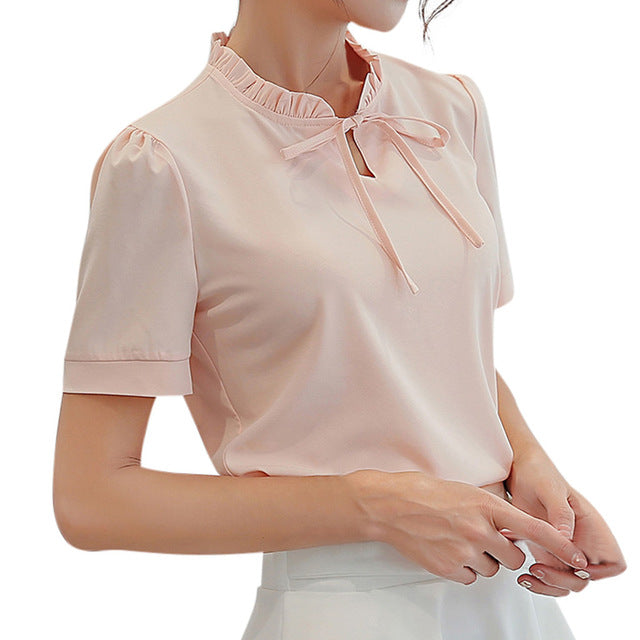 Short Sleeve Bow Tie Chiffon Blouse