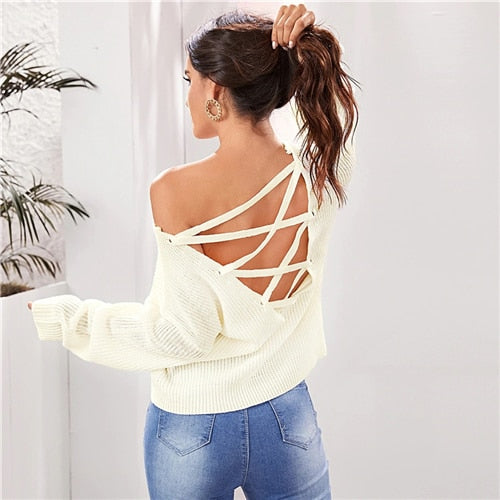 Beige Solid Lace Up Backless Sweater