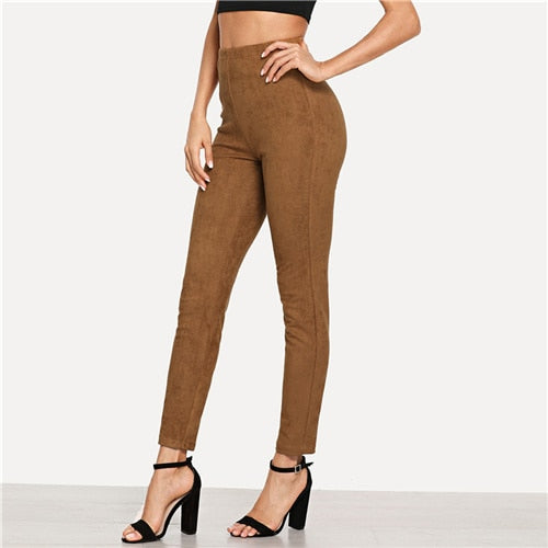 Brown Elegant Solid Suede Skinny Leggings