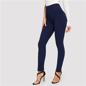Blue Pocket Side Solid Textured Elastic Waist Skinny Pants