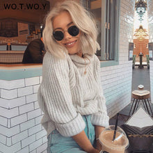 Load image into Gallery viewer, WOTWOY Autumn Winter Turtleneck Women 2018 Sweater Long Knitted Pullovers Women Loose Casual Sweaters Female Jumper Cashmere