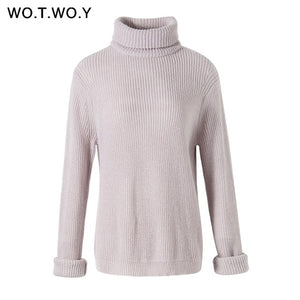 WOTWOY Autumn Winter Turtleneck Women 2018 Sweater Long Knitted Pullovers Women Loose Casual Sweaters Female Jumper Cashmere