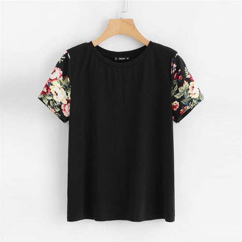 Black Floral Print Sleeve Women Casual Tee