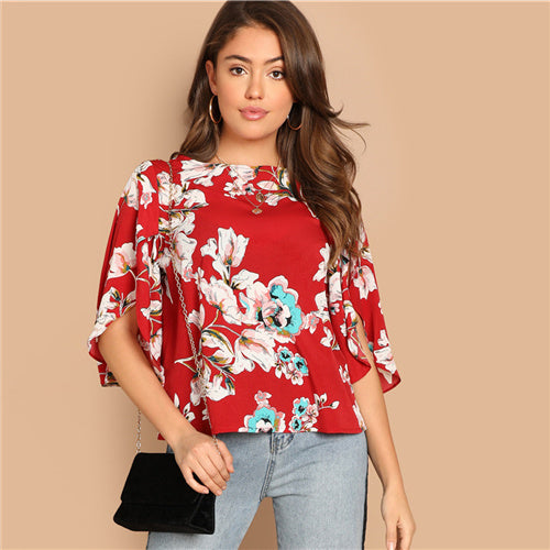 Red Floral Bohemian Butterfly Sleeve Top