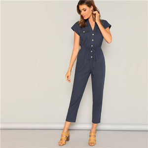 Navy Waist Drawstring Button and Pocket Front Solid Cap Sleeve Jumpsuit