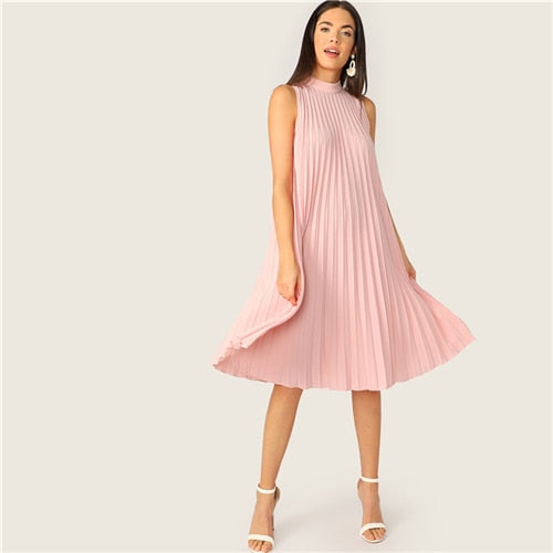 Mock Neck Cut-out Tie Back Pleated Tunic Party Midi Dress