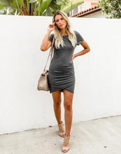 Load image into Gallery viewer, Mini Short Sleeve Solid Bodycon Dress