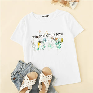 Casual Cute White Letter and Botanical T Shirt