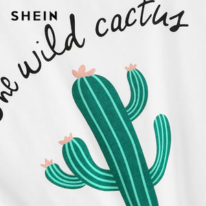 White Cactus Top Casual T Shirt
