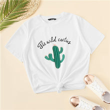 Load image into Gallery viewer, White Cactus Top Casual T Shirt