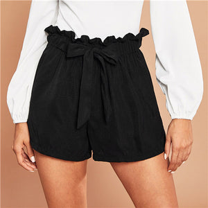 Casual Black Tie Front Ruffle Waist Paperbag Shorts