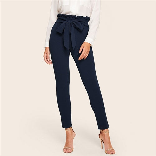 Paperbag Waist Belted Detail Solid High Waist Pants