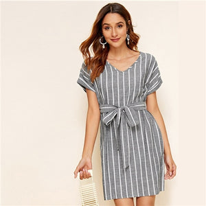 V Neck Vertical Striped Belted Dress