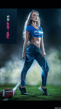 Load image into Gallery viewer, Fiber Football Collection Carolina Panthers Women Leggings - Fitness People Sportswear