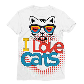 I Love Cats Sublimation T-Shirt