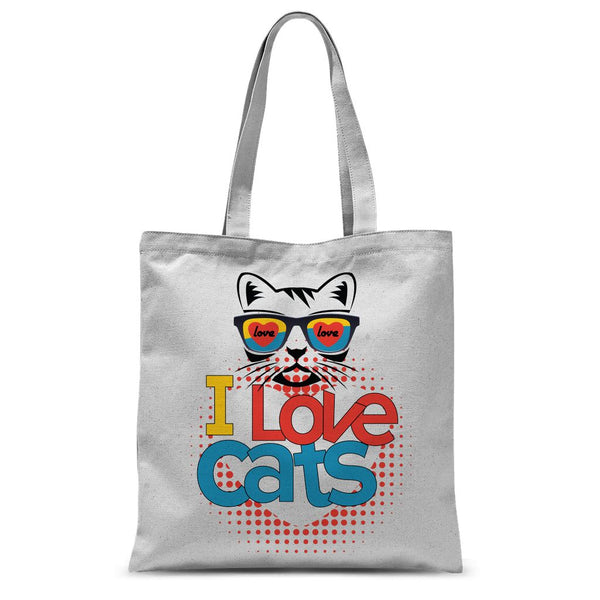 I Love Cats Sublimation Tote Bag
