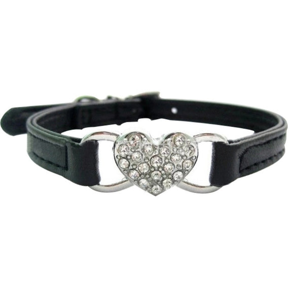 Heart Charm Jeweled Bell Collar