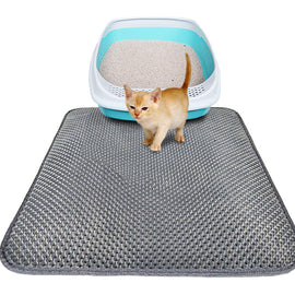 Double-Layer Cat Litter Mat - Black