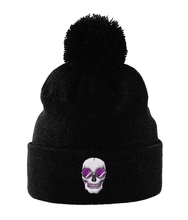 Load image into Gallery viewer, Pom Pom Beanie Purple Skull Shades
