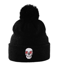 Load image into Gallery viewer, Pom Pom Beanie Red Skull Shades