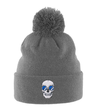 Load image into Gallery viewer, Pom Pom Beanie Blue Skull Shades