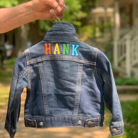 Levi's denim jacket. Personalized kids jean jacket. Back to school outfit.