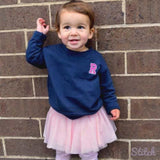 Custom monogrammed girls top. Toddler girls personalized crewneck sweatshirt with initial monogram. Embroidered by Stitch monograms Chicago.