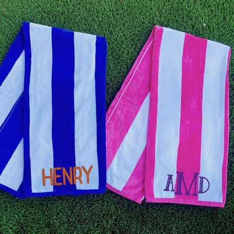 Monogrammed cabana striped beach towel. Stitch monograms in Chicago. Personalized towel. Monogrammed gifts for summer. Custom embroidered terry towel.