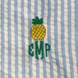Pineapple monogram. Pineapple embroidery.