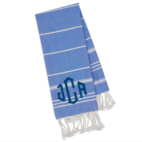 Monogrammed fouta kitchen towel with custom embroidery. Personalized hostess gift or housewarming present by Stitch monograms. Turkish towel for the kitchen, bath or dining.