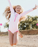 RuffleButts Rainbow Stripe One Piece Rashguard