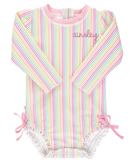 RuffleButts Rainbow Stripe One Piece Rashguard *PREORDER*