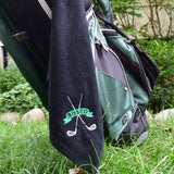 Custom monogrammed black golf towel. Personalized gift for golfer with monogrammed name. Embroidered by Stitch monograms Chicago.