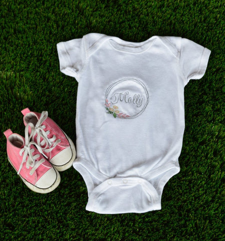 Floral name short sleeved onesie