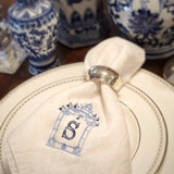 Custom embroidered chinoiserie dinner napkins. Monogrammed pagoda with initial by Stitch monograms Chicago. Personalized initial and thread colors. Custom bridal gift. Personalized wedding gift.