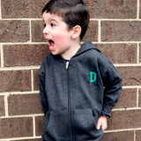 Custom monogrammed zip up fleece sweatshirt. Monogrammed sweatshirt for boys and girls. Personalized kids gift with custom letter by Stitch monograms Chicago.