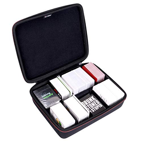 LTGEM EVA Hard Portable Travel Case for Card Games. Hold up to 1600 Cards with 6 Moveable Dividers (2 Row) - Black