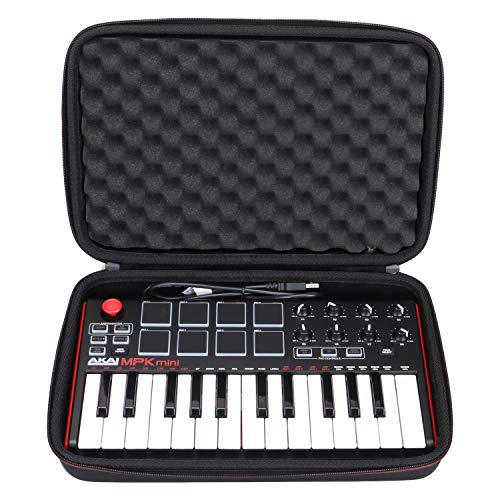 LTGEM Travel Hard Carrying Case Akai Professional MPK Mini MKII & MPK Mini Play 25 Key Ultra-Portable USB MIDI Drum Pad & Keyboard Controller black