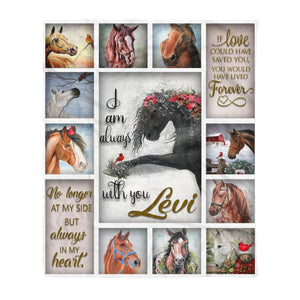 Pemola - I am always with you Fleece Blanket, Horse quotes blanket, Horse custom name blanket for horse lover.