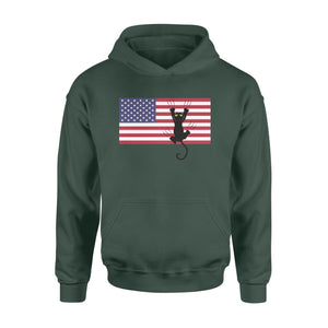 Pemola - Cat American Flag Hoodie, hoodies for men, hoodies for women, cool hoodies