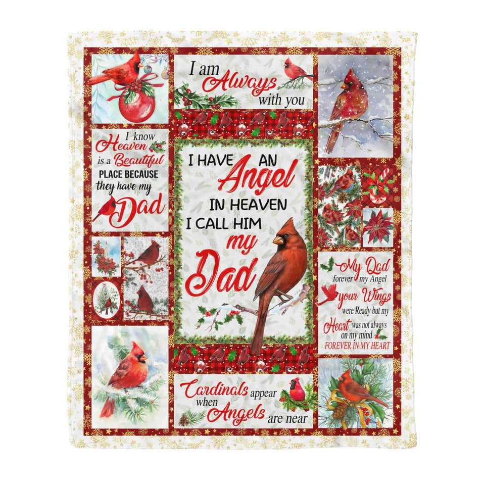 Pemola - My Dad Cardinal Bird Fleece Blankets, Gifts For Daughter, Gifts For Son, Iam Always With You Blanket