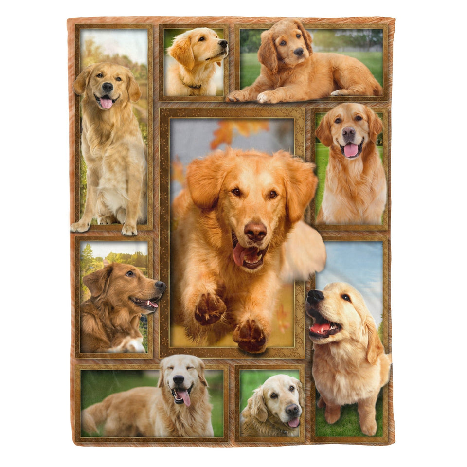 Pemola - Golden Retriever Dog Fleece Blanket, animal blankets, blanket gift, dog mom giffts