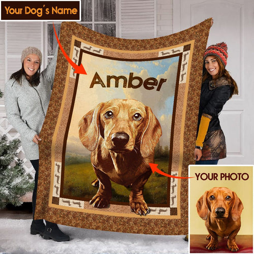Pemola - Dachshund Dog, Dachshund Art, Dog Blankets, Customized Blanket, Fleece Blankets