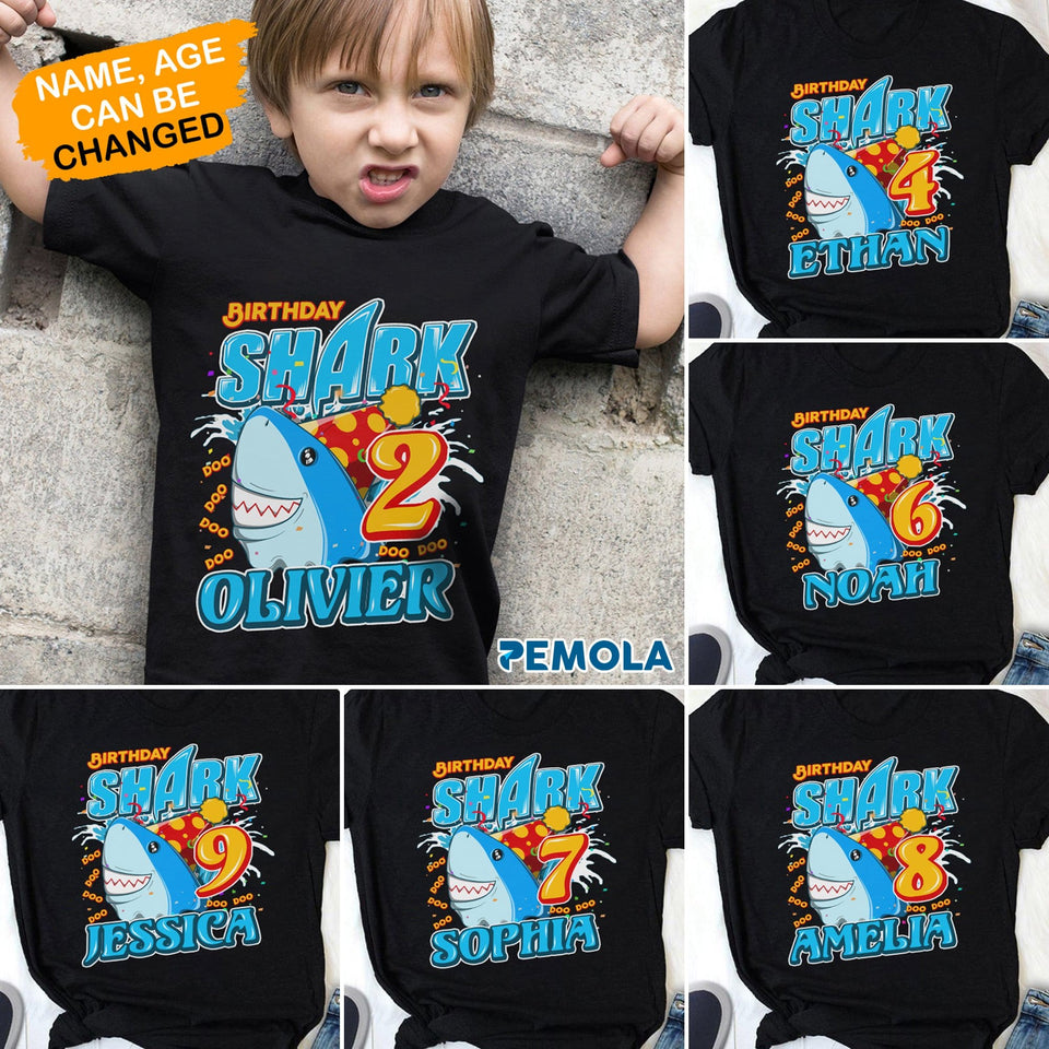 Pemola, personalized gifts for kids, shark, baby shark doo doo, baby shark birthday party, baby shark shirt
