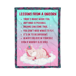 Pemola, Lesson From A Unicorn, Unique Unicorn Gifts, Unicorn Blankets, Funny Blankets, Sayings Blanket, Fleece Blankets
