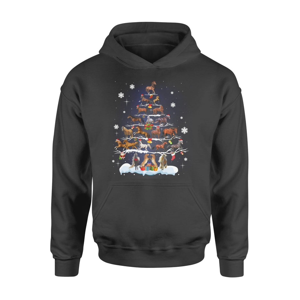 Pemola - Horse Christmas Tree Hoodie, hoodies for men, hoodies for women, cool hoodies, graphic hoodies