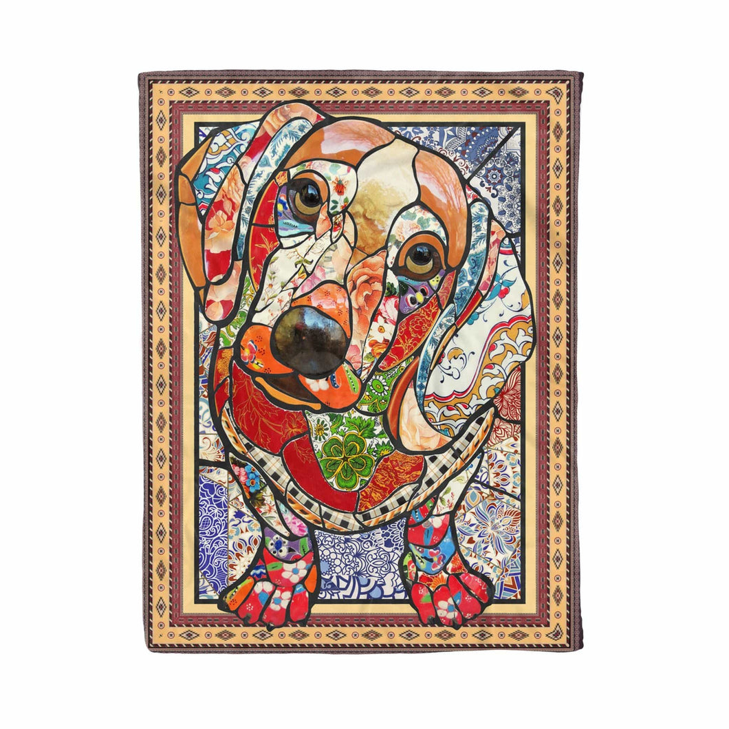 Pemola - Dachshund Mosaic Blanket, Dog Fleece Blanket Christmas Gift