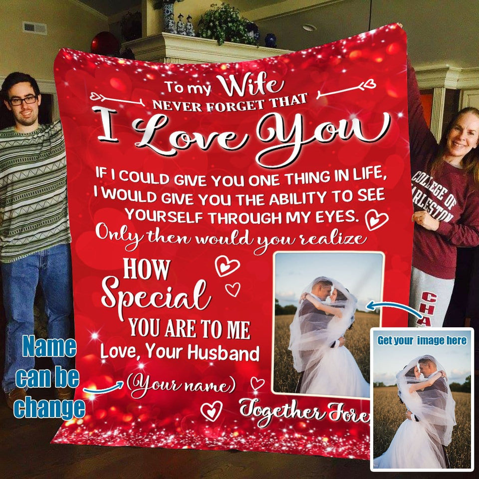 Pemola, To my wife personalized blanket, love my wife blanket, blanket for wife
